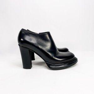 JIL SANDER Black Leather Booties Block Heel